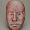 survior guilt, Dreamwork, Dali Lama, Healing from shame, ceramic relief, head and face sculpture, wall hung, indoor, outdoor