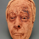 Oklahoma, Dreamwork, Healing from shame, ceramic relief, head and face sculpture, wall hung, indoor, outdoor