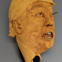 Donald Trump, survior guilt, dreamwork, Healing from shame, ceramic relief, head and face sculpture, wall hung, indoor, outdoor