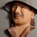 Carlos Santana, Healing from shame of his sexual abuse as a child, ceramic relief, head and face sculpture, wall hung, indoor, outdoor