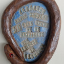 Dreamwork, Sexuality, Healing from shame, ceramic relief, head and face sculpture, wall hung, indoor, outdoor